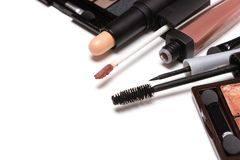 Beauty products for natural day makeup on white with copy space Stock Images