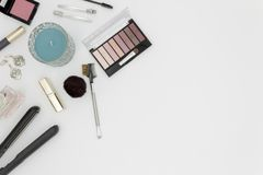Beauty products top view on white background space for text royalty free stock photography