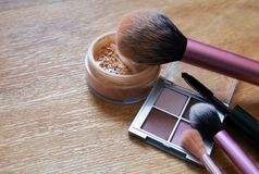 Beauty products on wooden background stock photography