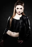 Beauty punk girl in leather, subculture Stock Image