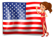 A beauty queen and the flag of the USA Royalty Free Stock Image