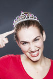 Beauty queen thrilled of having won her beauty contest Stock Photography