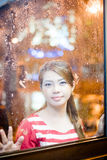 Beauty in the rain. Asian woman in the rain outdoor Royalty Free Stock Photo
