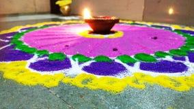 Beauty of rangoli lamp of lights stock photos