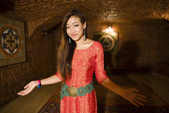 Beauty real asian girl greeting, vietnameese spa Royalty Free Stock Images