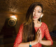 Beauty real asian girl greeting, vietnameese spa Stock Photo