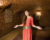 Beauty real asian girl greeting, vietnameese spa Royalty Free Stock Photos