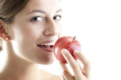 Beauty With A Red Apple Royalty Free Stock Image