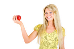 Beauty with red apple Royalty Free Stock Photo