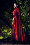 Beauty in red cloak. Beautiful brunette woman in black old-fashioned dress and red cloak walking in the thicket of the magic forest. Gothic style. Fashion Royalty Free Stock Photography