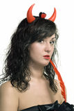 Beauty red devil girl with pen Royalty Free Stock Photos