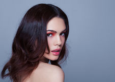 Beauty red eyes and lips makeup fashion model Stock Photography