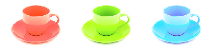 Beauty red green and blue porcelain tea cup Stock Photos