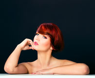 Beauty red hair woman glamour portrait hairstyle Stock Image