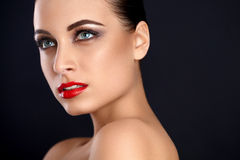 Beauty Red Lips Makeup. Beautiful Woman whit  Makeup Stock Images