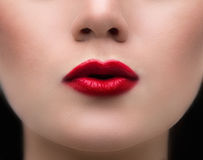 Beauty Red Lips. Makeup Detail. Beautiful Make-up Closeup. Sensual Open Mouth. lipstick Royalty Free Stock Images