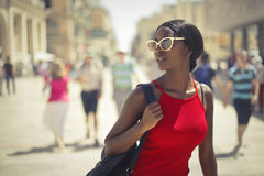 Beauty in red top. Beautiful african girl in red top Royalty Free Stock Photo