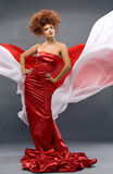 Beauty redheaded girl in fashion dress. On gray background Stock Images