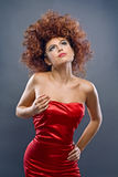 Beauty redheaded girl in fashion dress. On gray background Stock Image