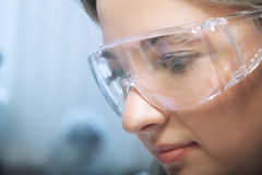 Beauty researcher. Young beauty woman in modern research laboratory Stock Photo