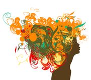 Beauty retro girl silhouette with multicolor hair. Stock Photos