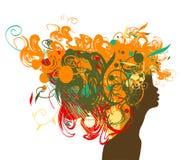 Beauty retro girl silhouette with multicolor hair. Stock Photos