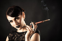 Beauty retro model with black makeup Stock Photo