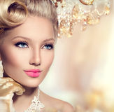 Beauty retro woman. With perfect makeup and hairstyle Stock Images