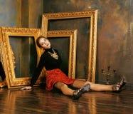 Beauty Rich Brunette Woman In Luxury Interior Near Empty Frames, Vintage Elegance Hispanic, Home Alone