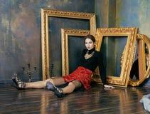 Beauty rich brunette woman in luxury interior near Stock Photo