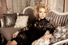 Beauty rich luxury woman like Marilyn Monroe. Beautiful fashiona Stock Photography