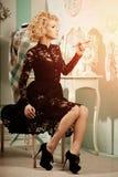 Beauty rich luxury woman like Marilyn Monroe. Beautiful fashiona Royalty Free Stock Photo