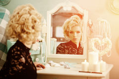 Beauty rich luxury woman like Marilyn Monroe. Beautiful fashiona Royalty Free Stock Photography
