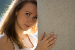 Beauty romance girl portrait. With sun light Royalty Free Stock Photography