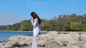 Beauty romantic girl outdoor stock video