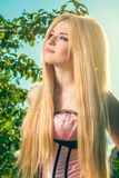 Beauty romantic girl outdoors Stock Photos