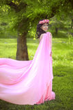 Beauty Romantic Girl Outdoors. Beautiful Teenage Model girl Dres. Sed in blowing pink Dress on the Field at green park Stock Image