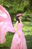 Beauty Romantic Girl Outdoors. Beautiful Teenage Model girl Dres Royalty Free Stock Image