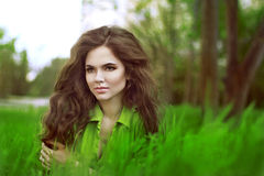 Beauty Romantic Girl Outdoors. Beautiful Teenage Model girl over Royalty Free Stock Photo