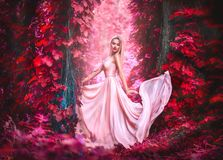 Beauty romantic young woman in long chiffon dress with gown posing in fantasy misty forest. Beautiful happy bride model girl