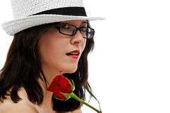Beauty and the rose Stock Photography