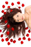 Beauty and Rose Petals Stock Image