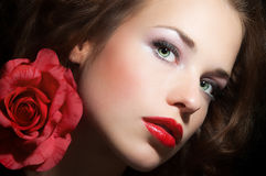 Beauty With Rose Stock Photography
