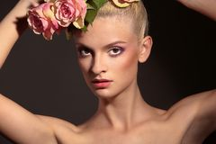 Beauty and Roses royalty free stock photos