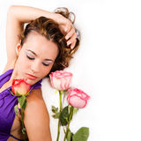 Beauty with roses - isolated Stock Image