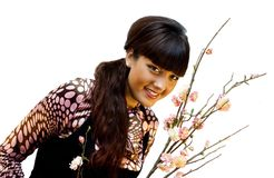 Beauty with sakura. Beautiful girl with sakura on white background Royalty Free Stock Images