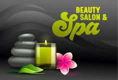 Beauty Salon Ad Banner, Front View of Spa Attributes as Aroma Candle, Massage Stones, Eucalyptus Leaves and Frangipani Plumeria stock illustration
