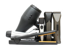 Beauty salon background - hairdressers tools. Isolated. Hair styling set Stock Photography