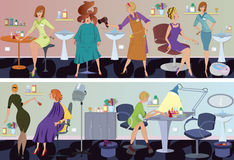 Beauty salon  banner hair blow drying Royalty Free Stock Images