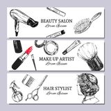 Beauty salon banner. with make up objects: lipstick, cream, brush. Template Vector. Hand drawn isolated objects. Cosmetics. Stock Images